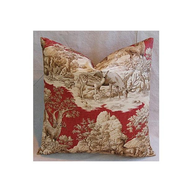Custom French Woodland Deer Toile Pillows - Pair - Image 5 of 8