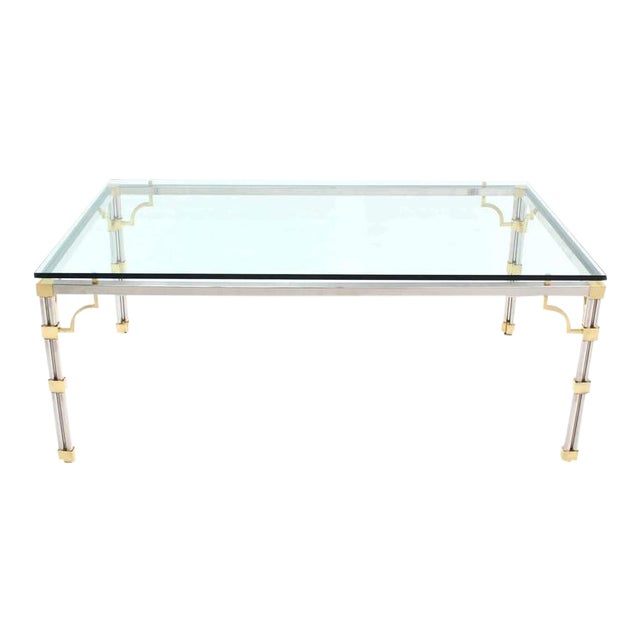 Glass Top Rectangle Chrome Brass Dining Conference Table For Sale