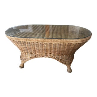 1970 Boho Chic Rattan Coffee Table. For Sale