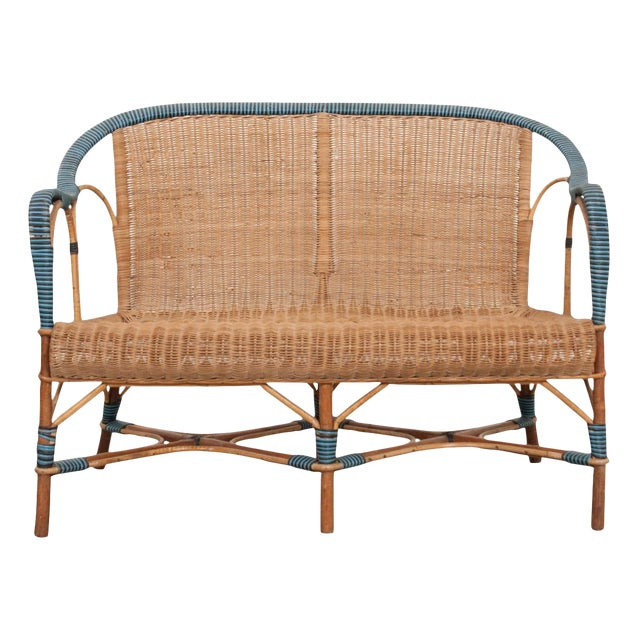 Vintage French Woven-Rattan Settee For Sale