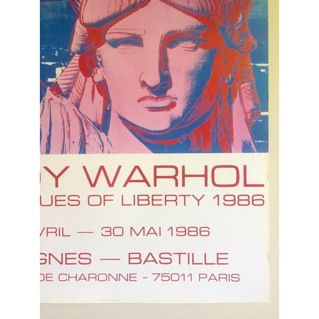 """Red Andy Warhol Rare 1986 Lithograph Print Paris Exhibition Poster """" 10 Statues of Liberty """" For Sale - Image 8 of 13"""