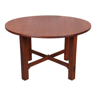 Gustav Stickley Mission Oak Arts & Crafts Round Dining Table, Newly Restored For Sale