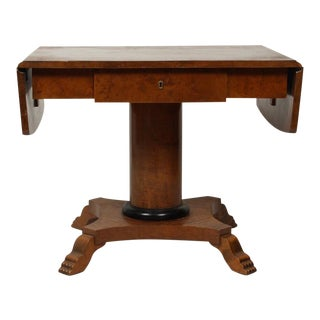 Biedermeier Drop Leaf Pedestal Table Center Table