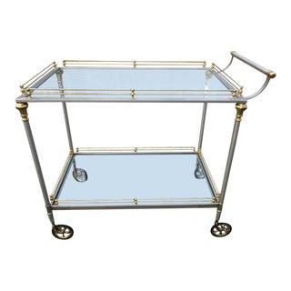 Maison Jansen Italian Brass & Brushed Stainless Steel Serving Bar Cart For Sale
