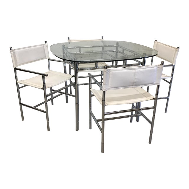 Chrome Faux Bamboo Dinette Set For Sale