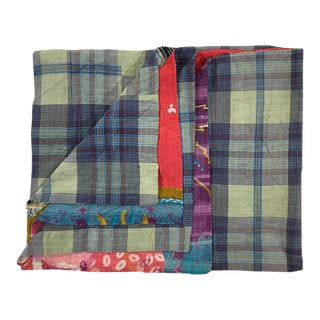 Field of Red on Plaid Rug and Relic Kantha Quilt