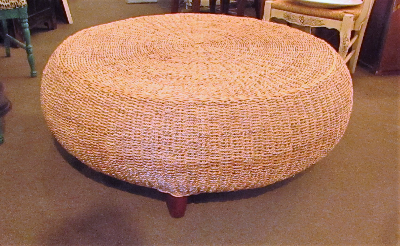 Round Rattan Woven Seagrass Coffee Table Chairish