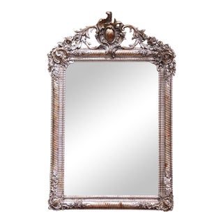 Mid-19th Century French Louis XV Hand Carved Silvered Wall Mirror For Sale