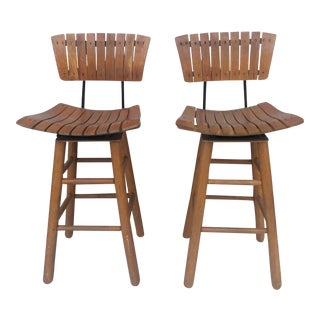 Pair Mid-Century Counter Stools After Arthur Umanoff For Sale