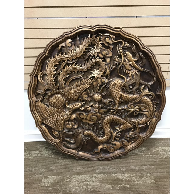Bronze Vintage Monumental Asian Wall Medallion Wall Plaque Dragon and Phoenix Resin Fiberglass For Sale - Image 8 of 8