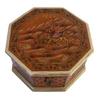 Embossed Octagonal Wood Box For Sale