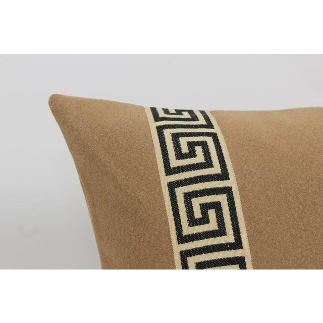 Camel Wool Blend Greek Key Trim Pillows, a Pair For Sale - Image 4 of 8