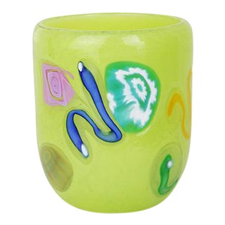 LagunaB Baby Light Green Handmade Murano Glass Tumbler For Sale