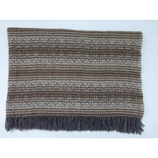 Vintage Amana Brown Grey Off White Wool Throw Blanket With Fringe Preview