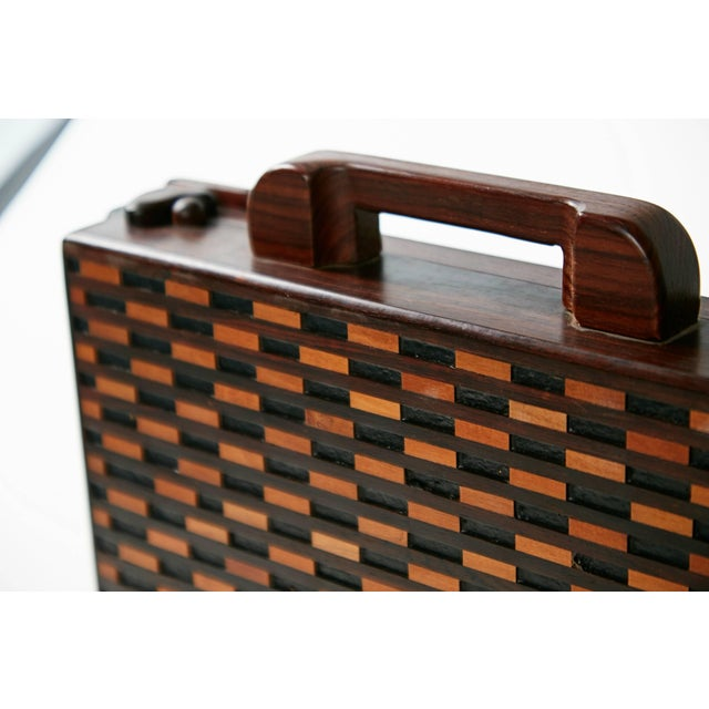 Cocobolo 1970s Don Shoemaker for Señal Exotic Wood Inlaid Decorative Briefcase For Sale - Image 7 of 11