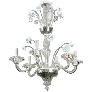 Venetian Six-Light Clear and White Glass Daffodil Chandelier c1930s For Sale