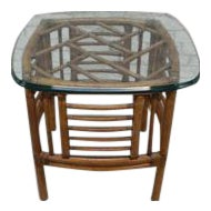 McGuire Style Bamboo Rattan Side Table Glass Top