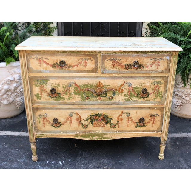 19th Century Antique Paint Decorated French Country Chest of Drawers Commode For Sale - Image 5 of 5