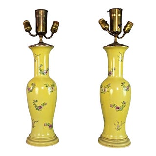 Antique Chinese Famille Rose Hand Painted Yellow Table Lamps - A Pair For Sale