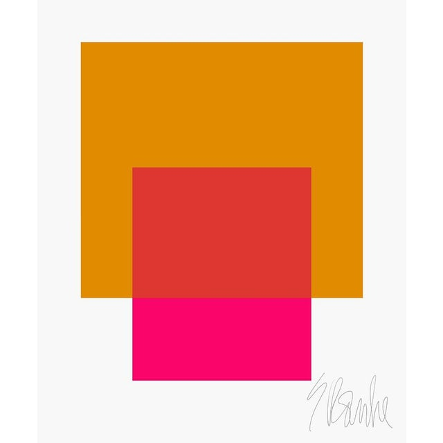 "The Interaction of Gold and Deep Pink Fine Art Print 45"" X 55"" by Liz Roache For Sale"