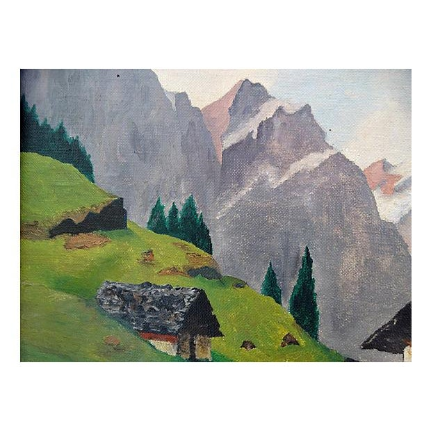 Mid-Century Mountain Scene Oil Painting - Image 3 of 7