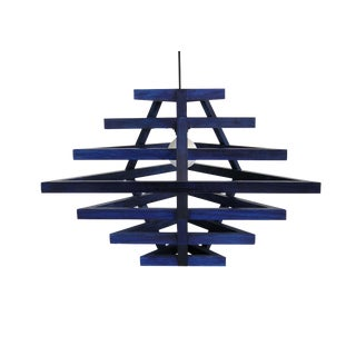 Lacquered Wood Graduated Triangle Bluebell Pendant Light by Alex Drew and No One For Sale