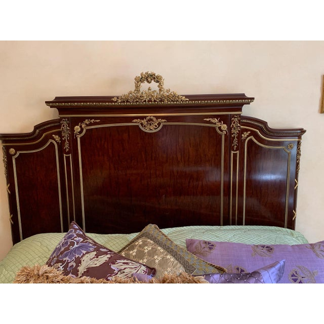 Francois Linke Signed Mahogany and Gilt Bronze Queen Size Bed For Sale - Image 10 of 12