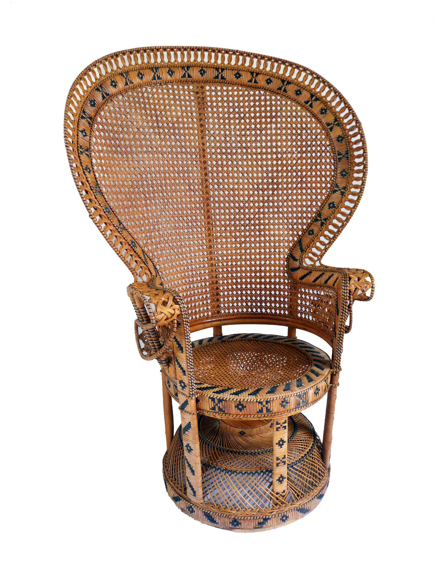 Superieur Beautiful 1970s Vintage Rattan Emmanuel Peacock Fan Chair Features  Intricate Weaving With Tribal Black Accents.