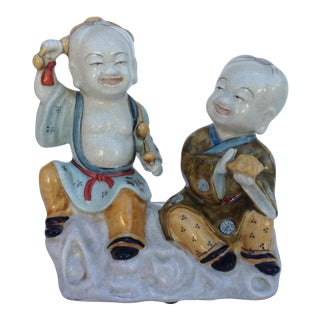 Japanese Satsuma Porcelain Crackle Sculptural Young Bhudda's For Sale
