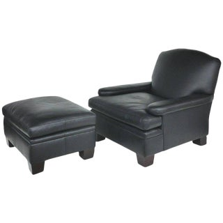 Ralph Lauren London Leather Club Chair W/ Matching Ottoman for Henredon For Sale