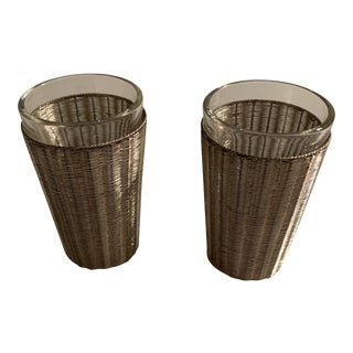 Taxco Sterling Handwoven Sterling and Glass Shot Glasses - a Pair For Sale