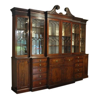 18th Century George III Double Breakfront Bookcase With Secretaire For Sale
