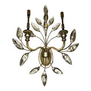Fine Art Lamps Crystal Laurel 2-Light Candle Sconce For Sale