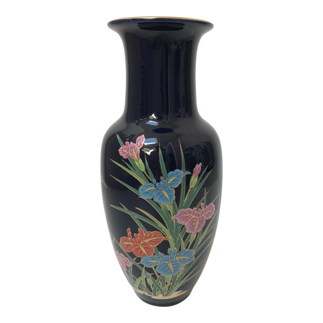 Asian Inspired Navy Floral Vase For Sale