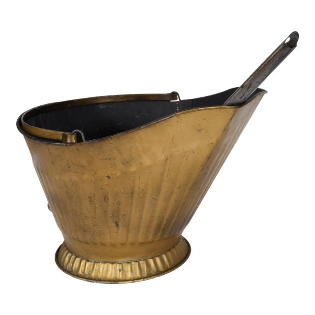 Mid-20th Century Coal Scuttle Fireplace Bucket and Scooper For Sale