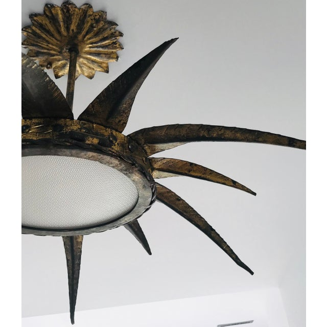 Mid-Century Modern 1950s French Sunburst Ceiling Mount Fixture For Sale - Image 3 of 9