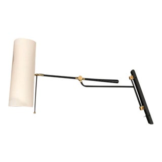 Frankfort Articulating Wall Light - Black and Antique Brass by Visual & Comfort Co. For Sale