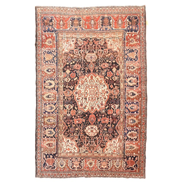 Antique Red Bakhtiari Persian Area Rug For Sale - Image 4 of 4