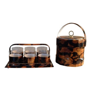 Tortoiseshell Glasses, Tray and Ice Bucket Bar Ware - 8 Piece Set For Sale
