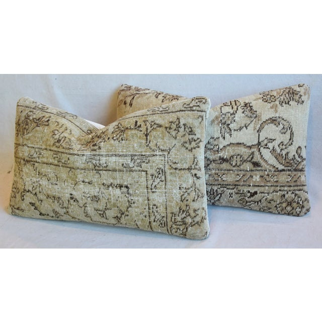 """White Antique Soumak Carpet Wool Feather/Down Pillows 26"""" X 16"""" - Pair For Sale - Image 8 of 13"""