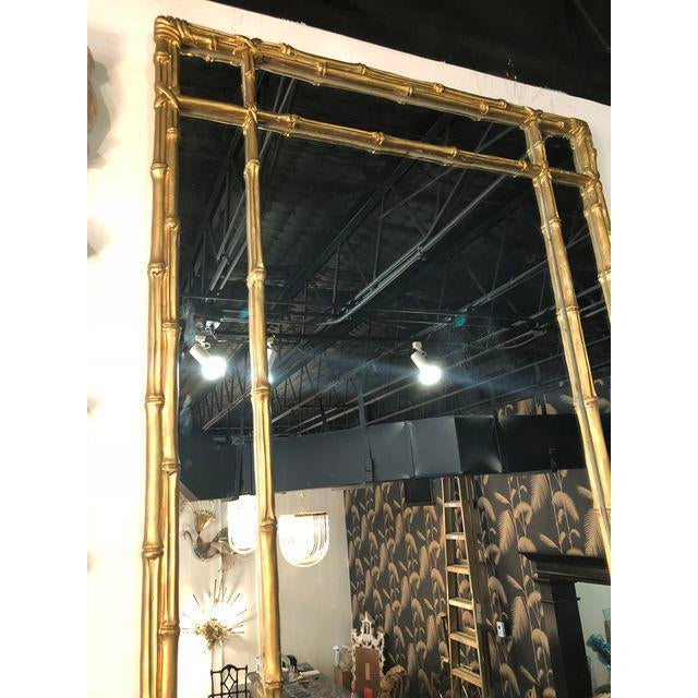 1970s Vintage Faux Bamboo Gold Wall Mirror For Sale - Image 5 of 10