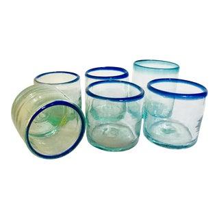 Hand Blown Boho Chic Aqua Glasses - Set of 6 For Sale