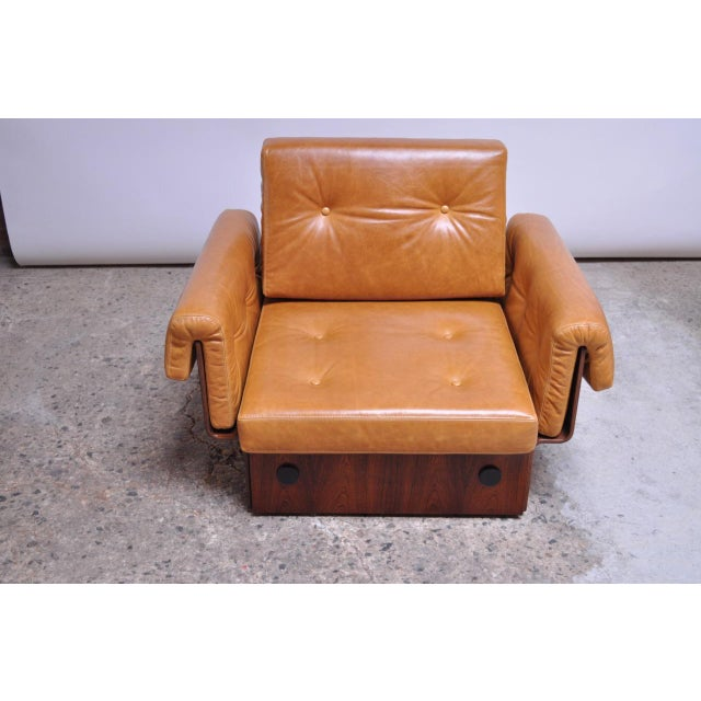 Brazilian Modern Rosewood and Leather Modular Sofa or Settees - 4 Pc. Set For Sale - Image 11 of 13