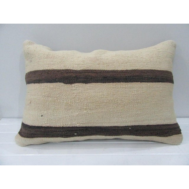 Handmade Vintage Striped Kilim Pillow Cover For Sale - Image 4 of 4