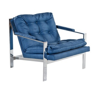 Restored Royal Blue Mid-Century Modern Milo Baughman Style Flat Bar Lounge Chair For Sale