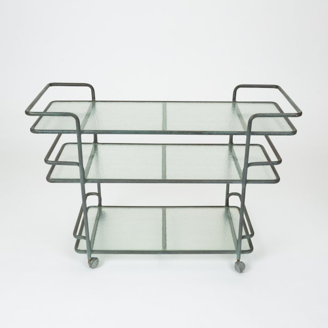 Mid-Century Modern Richard Frinier Bronze Bar Cart for Brown Jordan For Sale - Image 3 of 13