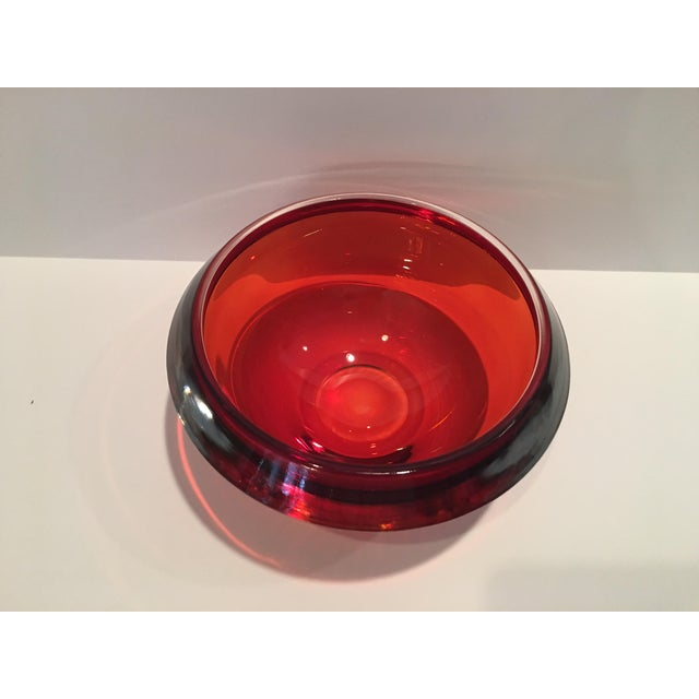 Mid-Century Modern Mid-Century Orange Art Glass Bowl For Sale - Image 3 of 6