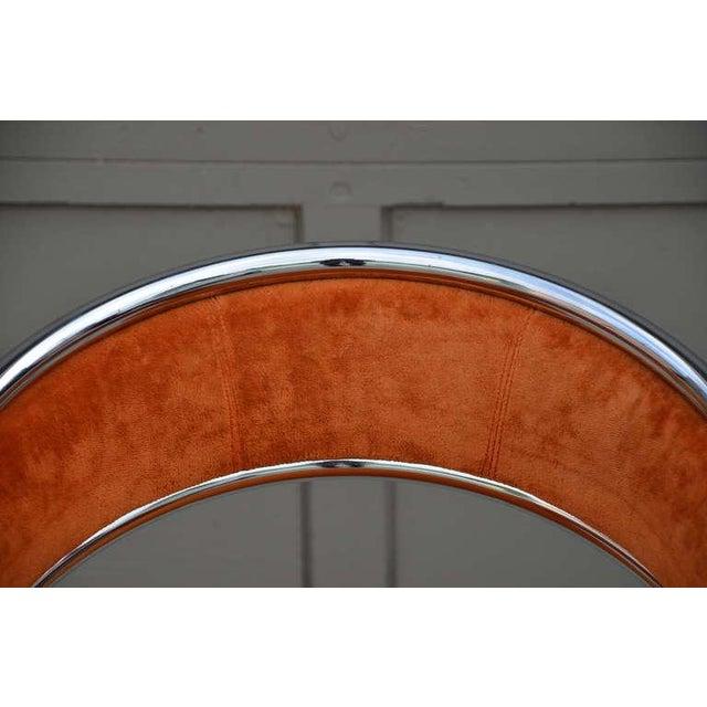 Chrome Unique 70's Orange Velvet and Chrome Armchair For Sale - Image 7 of 8