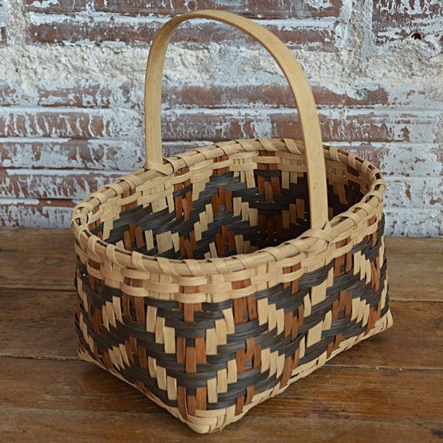 Carol Welch Cherokee White Oak Small Market Basket For Sale - Image 6 of 9