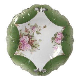 Early 20th Century Antique German Floral Cookie Plate For Sale